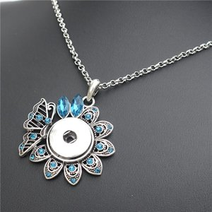 Flying Butterfly on Flower Metal 18mm Snap Buttons Peacock Blue Necklace Women Noosa Chunks Jewelry