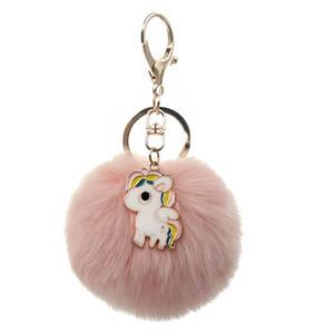 Carino Catene Unicorn Portachiavi Pompon Avengers chiave come Women Bag Car catena sfera della pelliccia Jewelry Key Fluffy Pom Pom portachiavi Per Portachiavi