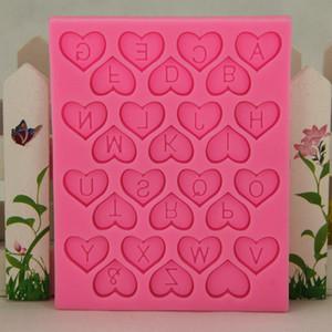 Высокое качество New Heart Shape Design письмо Шоколадные конфеты Силикон Mold Дети Торты на день рождения украшения Сахар Craft Выпечка Инструменты Promotion