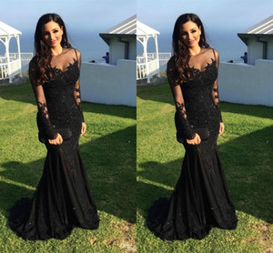 2020 Evening Dresses Sexy Arabic Jewel Neck Illusion Lace Appliques Crystal Beaded Black Mermaid Long Sleeves Formal Party Dresses Prom Gown