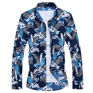 Cool2019 Autumn Shivering Increase Fertilizer Ampliar Código Hombre Tiempo libre Long Sleeve Youth Trend Flower Shirt