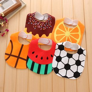 1PC Baby Girl Boy Bibs Scarf Football Orange Cake Cartoon Baby Cotton Scarf Bibs Toddler Button Burp Cloths Feeding Care Bibs