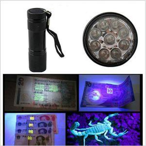 9LED aluminio UV Mini portátil ultra violeta Blacklight 9 linterna LED Antorcha linterna iluminación portátil