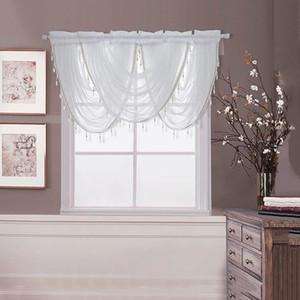 Salon Mutfak için Kristal Perde Valance Perdeler Gümüş İpek Hattı Boncuklu Perde Valance Şeffaf Pencere Perdeler