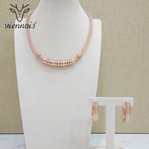 Viennois new rose gold cor conjunto de jóias para as mulheres geomertic brincos conjunto colar de jóias festa