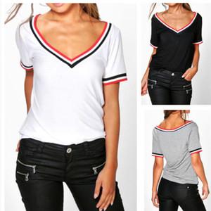 İnce T Gömlek Bayan Derin V Boyun Yaz Kısa Kollu Gömlek Moda Tshirt Pamuk Panelli T Shirt Bayanlar Tee