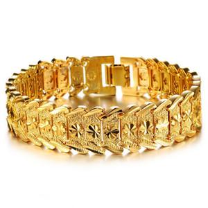 Личность Браслеты шарма золото 18K Пшеничный наручные звену цепи браслеты пышного Punk ювелирные изделия для мужчин женщин Кубинской аксессуары браслет