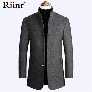 Cappotto di lana degli uomini di alta qualità Riinr marca degli uomini stand misto lana bavero del cappotto nuovo colore solido di lusso Miscele maschio M-3XL