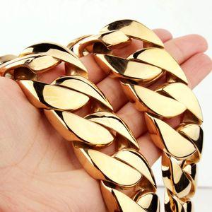 Hip hop T Muestra superpesado encintado de los muchachos para hombre cubanos oro de la cadena del collar de plata del tono de gran tamaño de acero inoxidable de 30 mm Exaggerate joyería 28 pulgadas