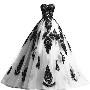 Custoim Made Wedding,Black Embroidered Lace Appliques with White Tulle A-line Wedding Dress Elegant Bridal Ball Gowns Plus Size