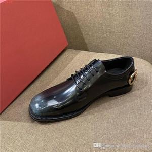 Para hombre de los zapatos de cuero de cuero inglés caballero con cabeza redonda y tacón bajo con zapatos de vestir de negocios con cordones, con el empaquetado completa