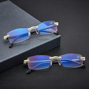 Blau lichtundurchlässige Brille Qualitäts-Lesebrillen Presbyopic Brille Klarglas-Objektiv Unisex Randlosbrille Stärke +1,0 +4,0