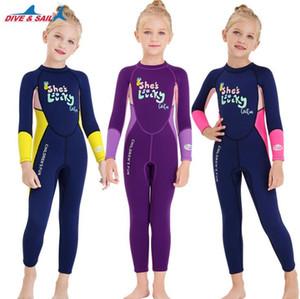 Девушки Цельный 2.5MM неопрена Дети Гидрокостюм Гидрокостюм Детские купальники для девочек Big Keep Warm Длинные рукава Защита от ультрафиолетовых лучей Swimwear