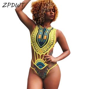 ZPDWT tribale donne Dello Swimwear Africano Stampa Swim Costume Da Bagno Cut-Out Monokini Fasciatura di un pezzo del Costume Da Bagno Femminile Beachwear Trikini