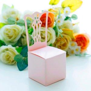 Conjunto de 12 Chair Forma Wedding Party Gift Box Papel favor doces caixas decorativas
