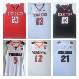 새로운 23 자렛 컬버 텍사스 테크 뉴저지 2019 결승 포 TTU 레드 화이트 농구 유니폼 TTU 빨간색 흰색 유니폼 셔츠 뜨거운 NCAA GUY