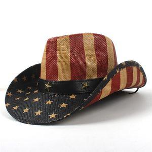 가죽 밴드 USA 와일드 챙 여름 남여 수제 미국 국기 카우보이 밀짚 태양 모자는 남성과 여성을위한 모자