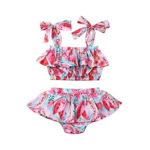New Girls Swimwear Bathing Suits Baby Swimsuit Summer 2Pcs Watermelon Print Strap Bikini Sets Lovely Child Swimsuit Beachwear