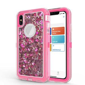 Case Heavy Duty pour Samsung Note 10 S9 plus antichocs liquide Quicksand Glitter Case pour iPhone XS Max XR 8 Pas de clip Opp Sac