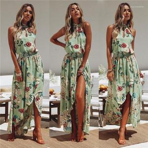 Designer Dress con cerniera Donna Summer Beach Boemia vestiti delle donne Halter maniche rivestite abiti di stampa