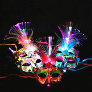 Frauen Venetian LED-Faser-Licht-up-Maske Maskerade Abendkleid-Partei Prinzessin Feder glühende Masken Maskeradeschablonen
