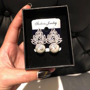 Colección de la hoja GODKI perlas de imitación completa Micro Pave circonio cúbico pendiente de las mujeres de compromiso nupcial joyería Adicción CX200706