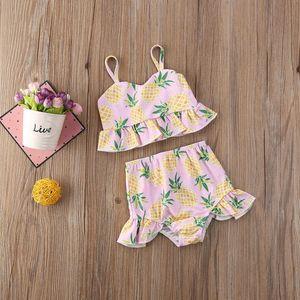 Children Two-Piece Suit Kids Toddler Kid Baby Girl Ruffles Swimsuit Bikini Bathing Suit Swimming Costume Summer Print Pineapple