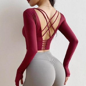 Mujeres Sexy Back Straps Gym Yoga Crop Tops Yoga camisas de manga larga entrenamiento Top Fitness Running Sport camisetas T200411