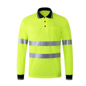 High Visibility Safety Clothes Work Shirt Breathable Night Reflective T-shirt Safety Polo Shirt Long Sleeve Work Tops Dry Fit T191226