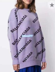 Las mujeres de lujo de gran tamaño Diseño Equipo de cuello de géneros de punto Allover Letter Pullover suéter niñas Pista TRAMO viscosa Virgen de punto Tops camisa floja