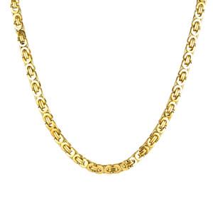 Usenset الأزياء والمجوهرات المقاوم للصدأ قلادة 6 ملليمتر مربع البيزنطية ربط سلسلة الذهب والفضة اللون لرجل إمرأة