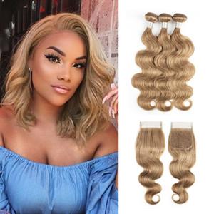 # 8 Cendré cheveux humains Weave Bundles avec fermeture Brésil Virgin cheveux 3/4 Bundles avec dentelle 4x4 Fermeture Remy prolongements de cheveux humains