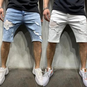 Mens Denim Chino Shorts Skinny Slim Summer Half Pantalon Cargo Jeans T190522