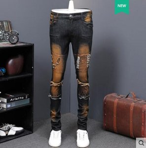 2019 spring and autumn retro new locomotive casual jeans men straight slim nostalgic long pants Joger Worker Male