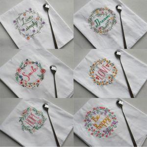 Baumwolle bestickt Servietten 45 * 70cm Traum-Hoffnungs-Liebe gestickte Wein Handtuch Hochzeit Hotel Table Towel Decor
