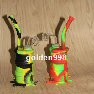 Narghilè Silicone Barrel Rigs Mini Silicone Rigs Dab Jar Bongs Jar Tubo dell'acqua Silicon Oil Drum Rigs con bocchette di quarzo spedizione gratuita