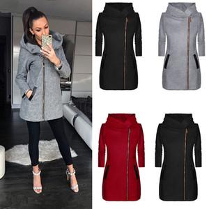 Damen Herbst Langarm-Full Zip-Jacke Solid Color Basic T-Shirt Art und Weise der Art-3 Farben asiatische Größe S-5XL