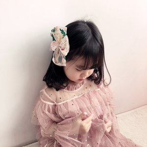 2020 New Korean Hair Clip Retro Embroidery Mesh Gauze Bow Girl Hair Clip Accessories