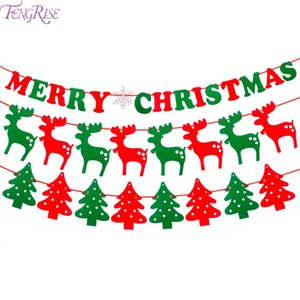 FENGRISE Merry Christmas Banner Ornaments New Year Christmas Decorations for Home Xmas Party Santa Claus Bell Flag Garlands