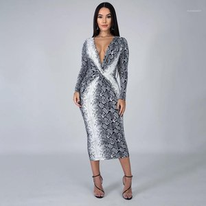 V Neck Bodycon Dress Sexy Front Tie Long Sleeve Dresses Fashion Club Party Dresses Snake Pattern