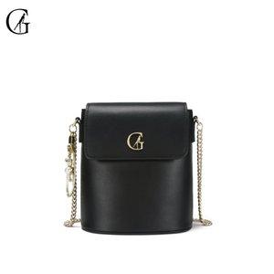 Ombro Messenger Bag Preto Cadeia de GOXEOU Mulheres Bucket Tipo pequeno saco selvagem simples moda bolsa Handmade Ladies