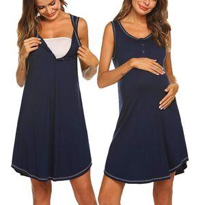 Women Maternity Dresses Summer Striped Breastfeeding Button Casual Elegant Nursing Dress Pregnant Clothes Vetement Femme 19may16