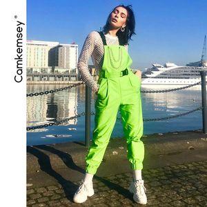 CamKemsey Mode Neongrün Schnalle Metallkette Straße Overalls Hosen Frauen 2019 Frühling und Herbst große Taschen beiläufige Jumpsuits