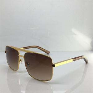 Clásico de la manera 0259 gafas de sol para los hombres marco cuadrado del oro del metal actitud estilo de la vendimia UV400 Gafas de sol Gafas de protección con la caja