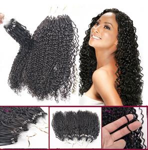 """Indiano Brailian Virgin Remy Cabelo Humano Micro laço ligação extensões do cabelo Afro Kinky Curly Micro Anel Extensão de Cabelo Cor Natural Preto 14-26"""""""