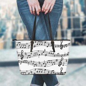 Bayanlar Omuz Çanta Müzik Not Kağıdı Desen Tasarım PU Deri Alışveriş Çanta Kadınlar Çanta Sıfır FORUDESIGNS Üst Kol Çanta