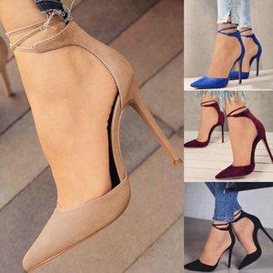 Bahar autumm Sivri Burun Kadınlar Bilek Kayışı Çapraz bağlı Yüksek Tek Ayakkabı İnce Topuklar Bayanlar Pompalar