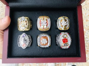 6pcs Clemson Tigers Final NCAA National Team Champions Championship Ring With Wooden Box Souvenir Set Fan Men Gift Wholesale 2020