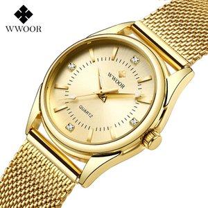 Zegarek Damski Women Watches WWOOR Top Luxury Gold Quartz Clock Ladies Golden Mesh Elegant Bracelet Watch Women Relogio Feminino