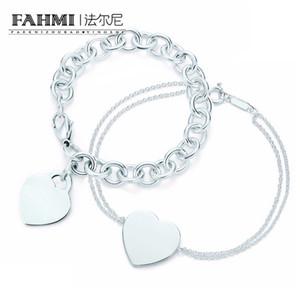Фаая Charm для подарков стерлингового серебра 925 Сердца образных женщин Элегантного замка Тифа Браслета Тиф Браслет Silverware Matching World